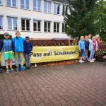 Banner in der Altmark weisen auf den Schulstart hin